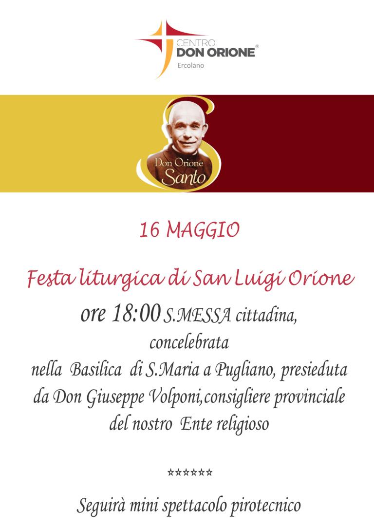 Festa liturgica San Luigi Orione Maggio 2019 Ercolano